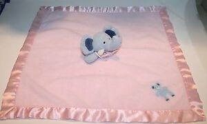 """Blankets & Beyond ELEPHANT Security Blanket 18"""" Soft Toy Baby Blue Pink Fleece"""