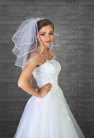 New Womens 3 Tier Ivory / White Wedding Bridal Short Satin Edge Veil With Comb