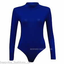 Women's Ladies Polo Turtle Neck Camo Plain Leopard Printed Bodysuit Leotard 16 - 18 Royal Blue