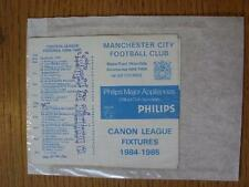 1984/1985 Manchester City: Official Fixtures Card, Four Page Style (results are