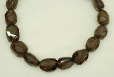 "Smoky Quartz 17x24mm Faceted Nugget Shape Bead, 16"" long"