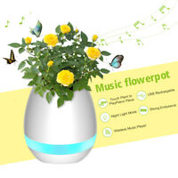 Music Flower Pot Smart Touch Plants Play Piano LED Lamp Light bluetooth