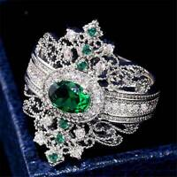 Gorgeous Women 925 Silver Jewelry Oval Cut Emerald Elegant Wedding Ring Sz 6-10