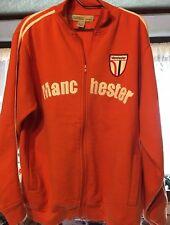 Carbon Manchester XL Long Sleeve Sweatshirt Jacket Zipper Pockets Orange & White