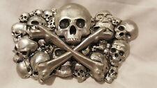 Skull & Crossbones with Skull Pile/Heap Vintage Metal Belt Buckle 1979
