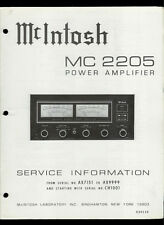 Rare Original Factory McIntosh MC 2205 Stereo Power Amp Amplifier Service Manual