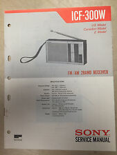 Sony Service Manual for the ICF-300W Receiver Radio ~ Repair ~ Original