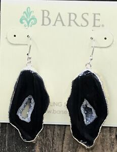 Barse Druzy Quartz Slice Earrings- Silver Foil- New With Tags