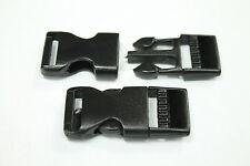 (10) 3/4 Buckles - FLAT- Black For Paracord Bracelets Plastic Clasp Side Release