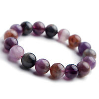 Genuine Natural Colorful Auralite 23 Cacoxenite Round Beads Bracelet 12mm AAA