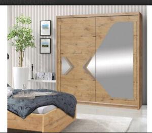 2 Door Sliding Wardrobe.Alder Lancelot/Grey Gloss/Mirror-150cmDN4-150.DOMINO.NEW