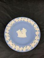 """Vintage Wedgwood Small Trinket Blue Jasperware Plate Cupid as Oracle 4.5"""""""