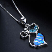 Exquisite Women Elegant Gift Fashion Jewelry Opal Necklace Chain Cat Pendant