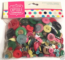 Papermania 250 gram bag assorted plastic buttons capsule SPOTS & STRIPES BRIGHTS
