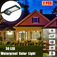 2X Waterproof Solar LED Wall Street Light PIR Motion Sensor Outdoor Garden Lamp