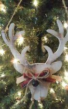 """New Rustic 10"""" Kurt Adler Mountain Christmas Wooden Reindeer Head Ornament!"""