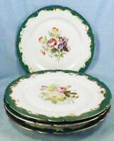 4 Rihouette a Paris Plates Flower Scenes Hand Painted Porcelain 1800s Antique