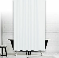 Plain White Fabric Shower Curtain - Weighted Hem, Rings, Custom Width And Length