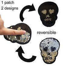 Sequin Skull iron on patch reversible design death halloween iron-on patches