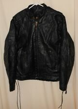 Vtg Motorcycle Leather Jacket Mesh Vents Side Laces Classic Cafe Biker Style 42
