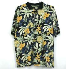 Bamboo Cay Mens Hawaiian Pineapple Print Short Sleeve Polo Shirt Size Large