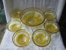 Retro set of 6 small Fruit Bowls & 1 Serving Bowl in Yellow/Clear Pressed Glass