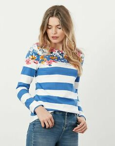 Joules Harbour Print Long Sleeved Jersey Top - Meadow Border Stripe