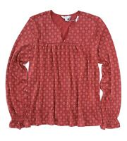 Lucky Brand Women's XL - NWT$49 - Red Diamond Bandana Pin Tuck Peasant Knit Top