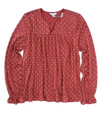 Women's Lucky BRAND Print Pintuck Peasant Red Multi Long Sleeve Shirt LG