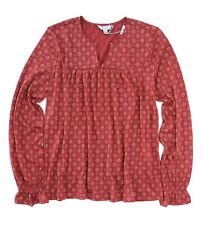 Lucky BRAND Womens Red Ikat Print Peasant Top Blouse Shirt XL