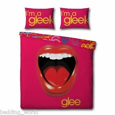 DOUBLE BED GLEE PANEL DUVET COVER SET MOUTH SING LIPS PINK RED YELLOW GLEEK