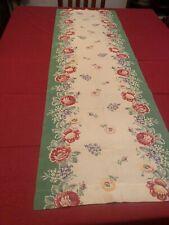 Vintage 1940's-1950's Flower Design Table Runner 18.5� X 56�