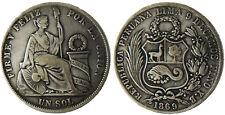 PEROU  ,  RÉPUBLIQUE  ,  UN  SOL  ARGENT  1869  LIMA