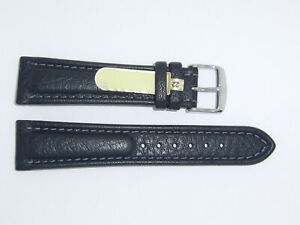 DI-Modell Genuine Cowhide Waterproof Leather 22 mm BLACK Watch Band POLO SHERPA