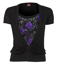 Spiral Direct THE WATCHERS 2IN1 GATHERED KNOT S/S Top|Cat|Purple Roses|Goth|Tee