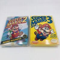 Nintendo NES Lot Of (2) Super Mario Bros 2 & Super Mario Bros 3 (Left Print) CIB