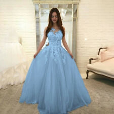 Womens Fashion Floral Lace Wedding Elegant Chiffon Evening Party Dress Ball Gown