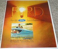 1968 Ford Mustang Galaxie LTD XL Torino Fairlane Falcon Wagons T-Bird Brochure