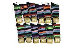 12 Pairs GoldStar Mens Rainbow Strip Dress Socks Cotton Multi Color Size 10-13