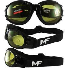Shatterproof Foam Padded Motorcycle Goggles YELLOW Lens Frame Black ANTIFOG