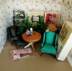 LOT OF DOLLHOUSE FURNITURE & ACCESSORIES, KITS, XMAS TREE, CHAIRS, SHELVES MORE