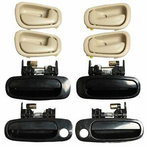 8Pcs Black Outside Beige Inside Left Right Door Handles for 98-02 Toyota Corolla