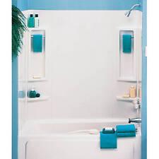 5-PC White Tub Wall Kit Shower Bathroom 6 Shelves 2 Towel Bars Enclosure DIY New
