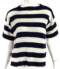 PRADA Navy & Ivory Wool Cashmere Striped Distressed Trim Sweater 42