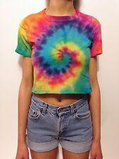 Tie Dye Crop Top Festival T-Shirt Cute Vibrant Rainbow EDC Pride Cropped Tee