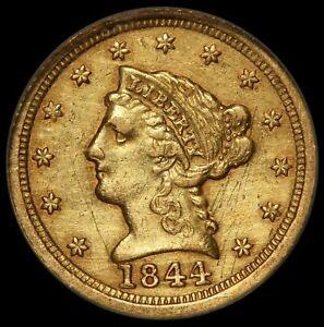 1844-D U.S. Liberty Head $2.50 Quarter Eagle Gold Coin - NCS NGC AU Details