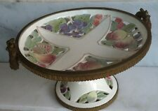 Wachtersbach Footed Fruit Plate With Brass Edging. Marked 25, Dec Or Deo 1578