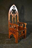 "Gothic Throne Chair for Dolls 16"" 1/4 BJD Tonner wood furniture OOAK V4"