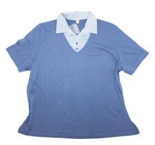 Damen Shirt Bluse Hemd mit Polokragen Gr. 54 Blau