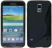 Silikon hülle Cover Handyschale Samsung Galaxy S5 G900F + Displayfolie Black